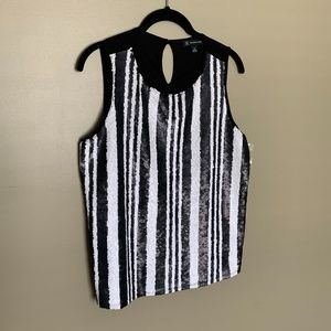 INC International Concepts striped sequin tank M